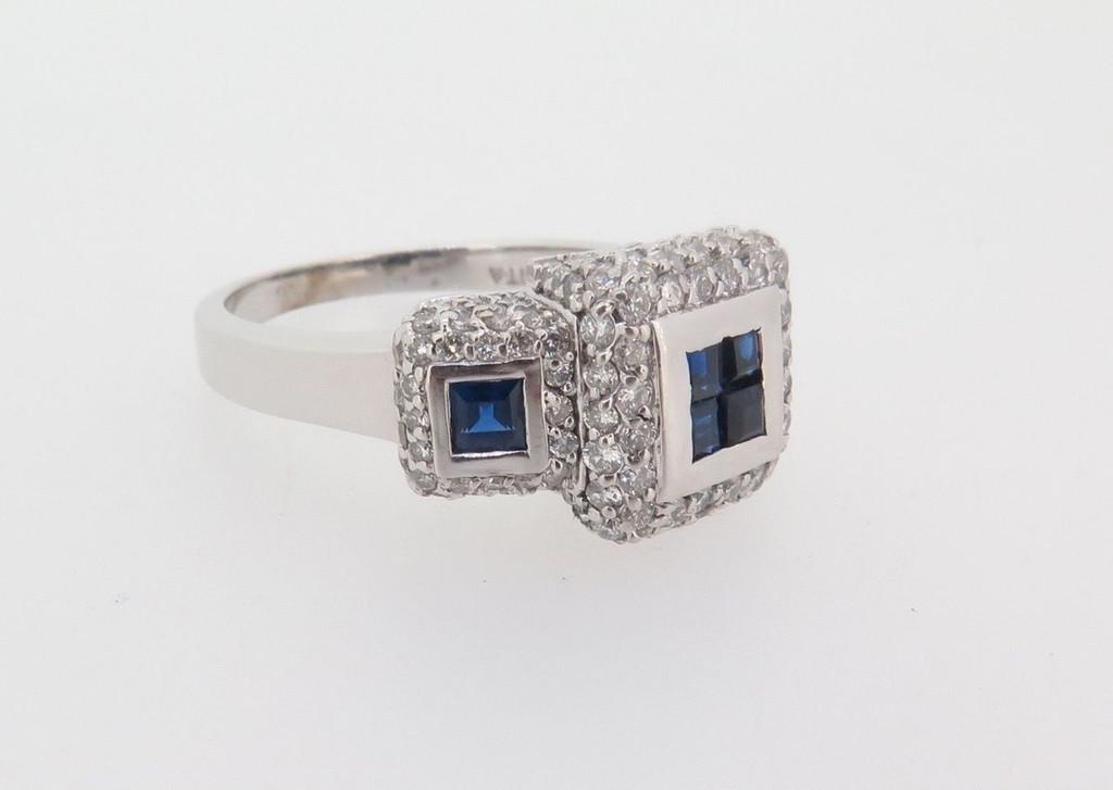 14K WHITE GOLD AUSTRALIAN SAPPHIRE & 2.00CT DIAMOND SET LADIES RING VAL $8995