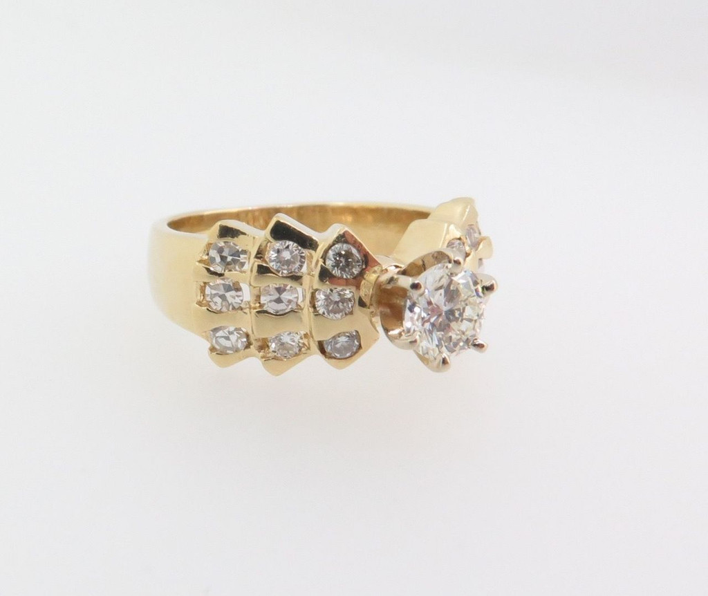 Vintage 14k yellow 0.76cttw H SI diamonds set dress ring Val $4600