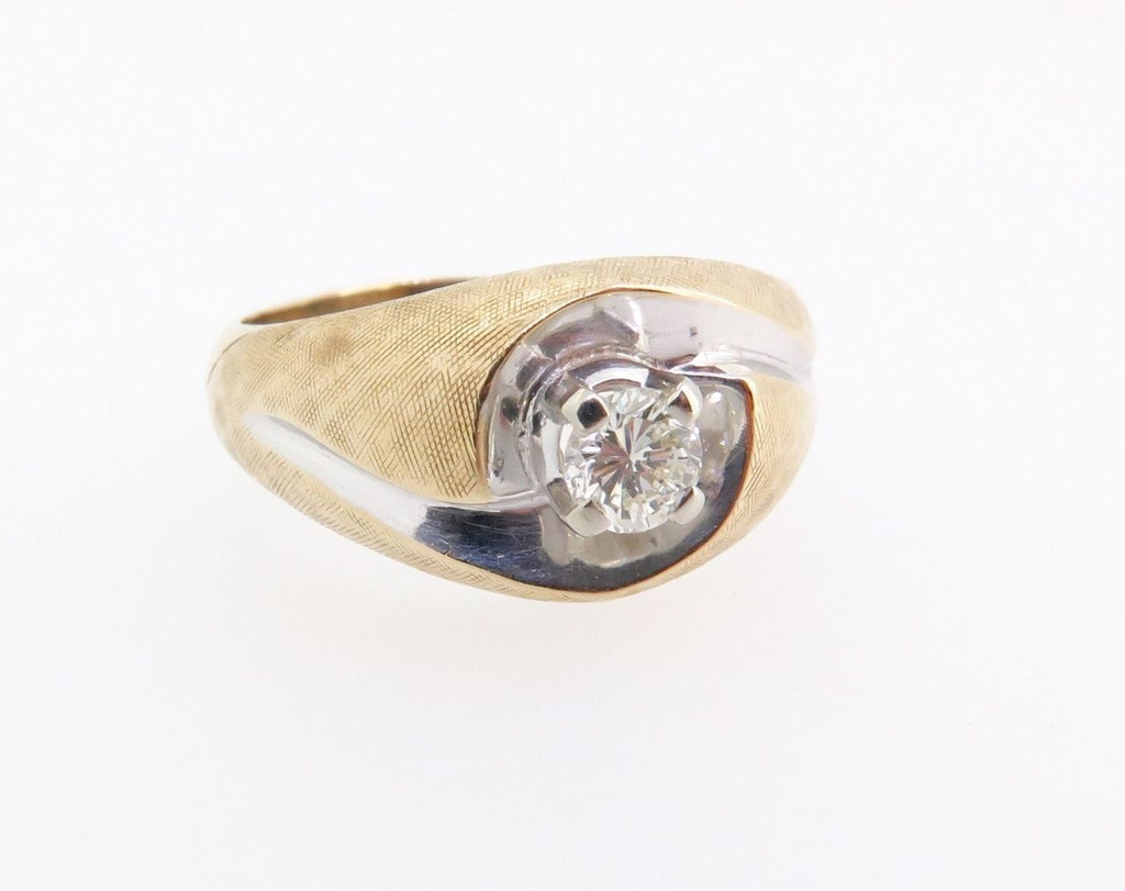 A 70s Vintage Diamond Solitare 14k white Gold Dress Ring Size U Val $3080