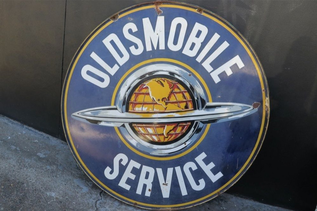 "RARE SUPERB c1950's 60"" AMERICAN OLDSMOBILE SERVICE DOUBLE SIDED PORCELAIN SIGN"