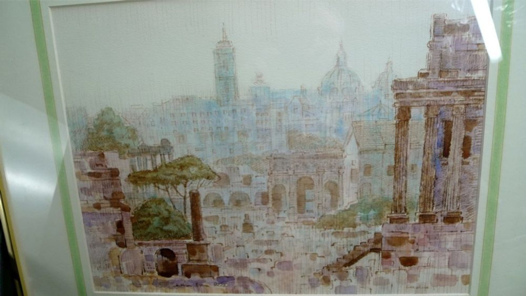 ARTHUR EVAN READ, 1911-78, LARGE SIGNED FRAMED WATERCOLOR OF ROME