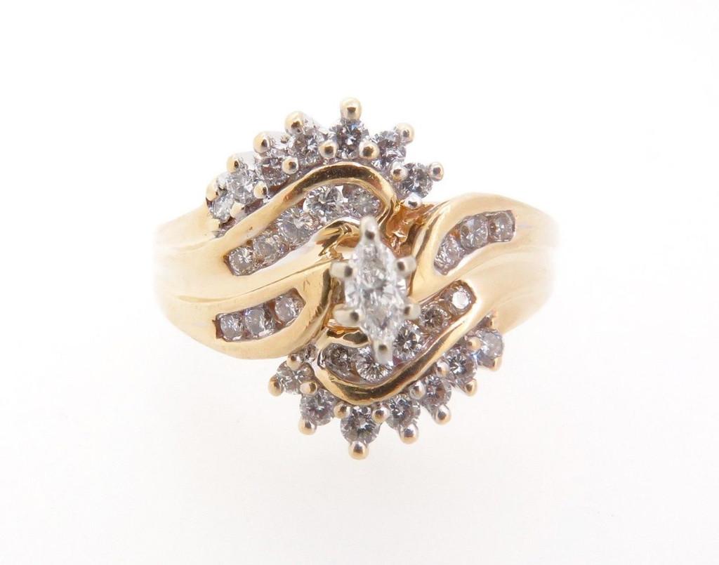 14k Gold 0.51ct Diamond cluster Ladies dress ring, valuation $3885