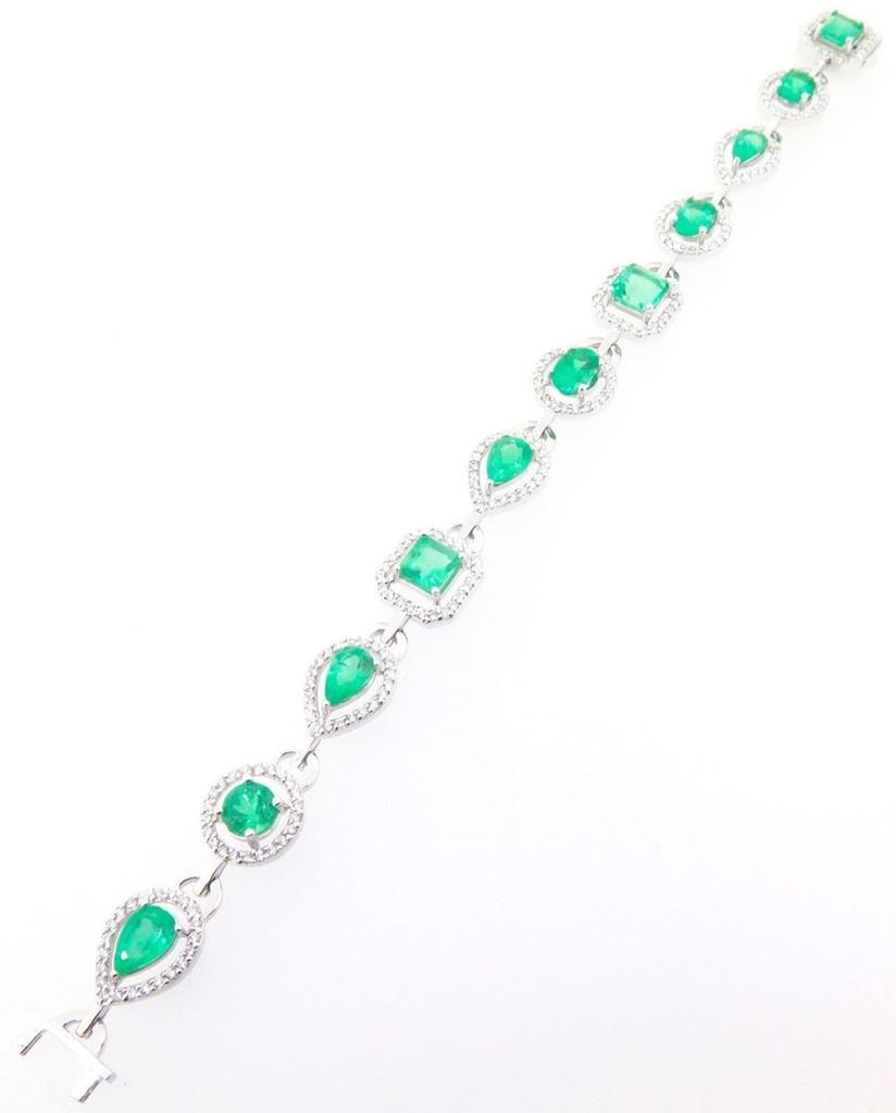 Stunning 8.9ct Emerald & 2.4ct Diamond Set Ladies 14K Gold Bracelet Val $24180