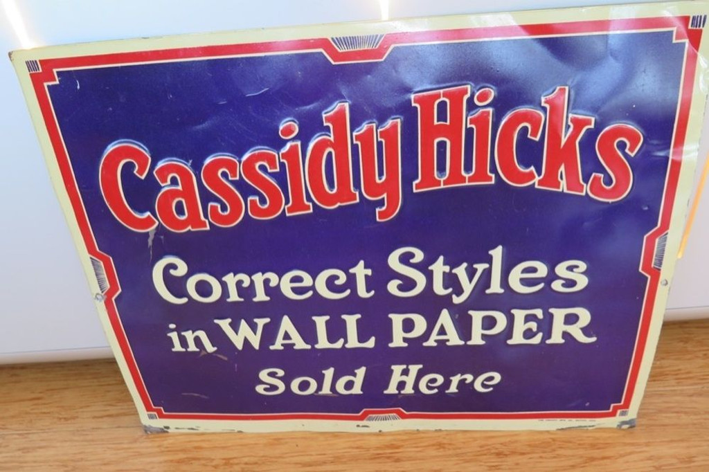 VINTAGE AMERICAN CASSIDY HICKS WALLPAPER EMBOSSED SIGN