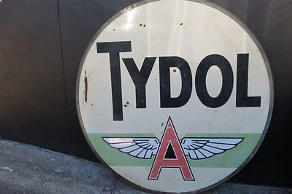 SIGNS BOUGHT AND SOLD AUSTRALIA WIDE RARE 1940s to 50s 6FT HUGE VINTAGE USA TYDOL GASOLINE DOUBLE SIDED ENAMEL SIGN