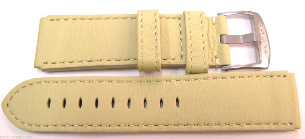 22MM HIGH GRADE GERMAN PALE LIME LEATHER STRAP & STEEL BUCKLE BY GLYCINE BRISBANE Harrington Vintage Watch Strap Woolloongabba