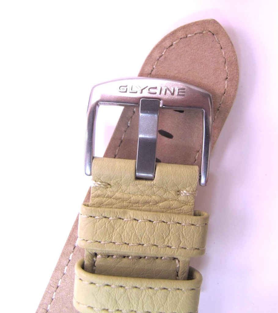 22MM GERMAN MADE PALE LIME LEATHER STRAP & STEEL BUCKLE BY GLYCINE