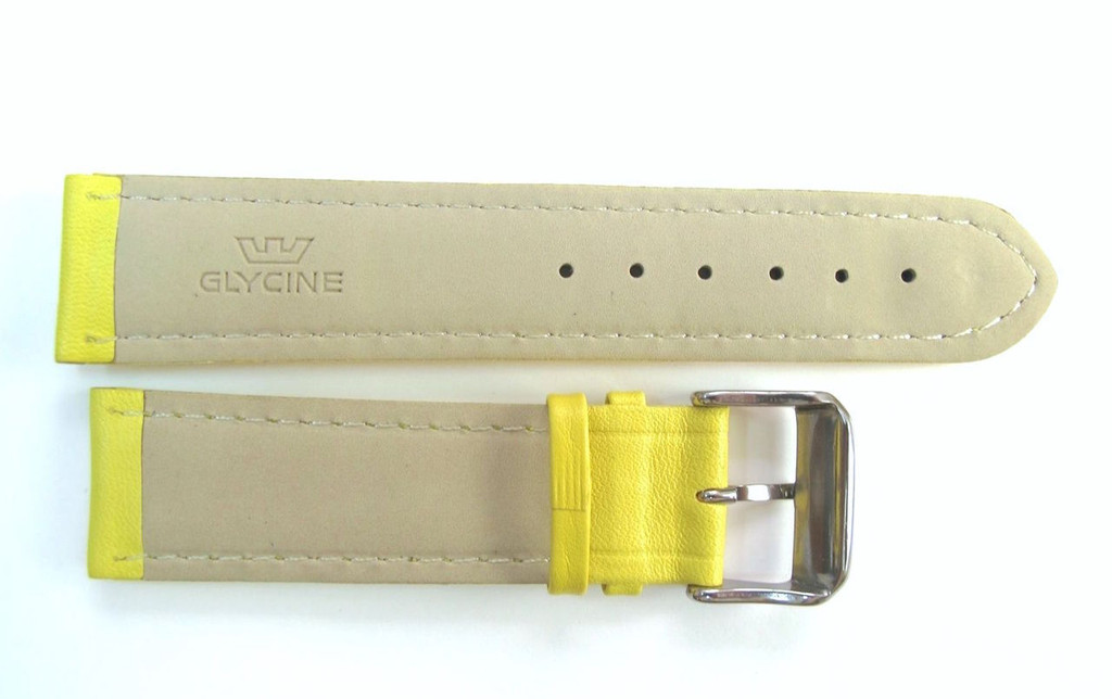 22MM HIGH GRADE YELLOW LEATHER STRAP & STEEL BUCKLE BY GLYCINE #U