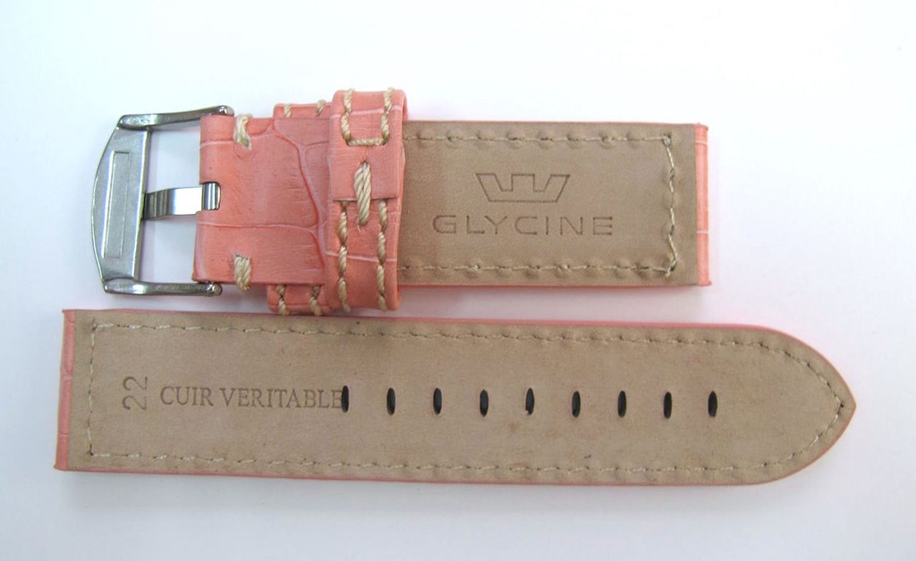 22MM LEATHER STITCHED HIGH GRADE PINK STRAP & BUCKLE BY GLYCINE #Y