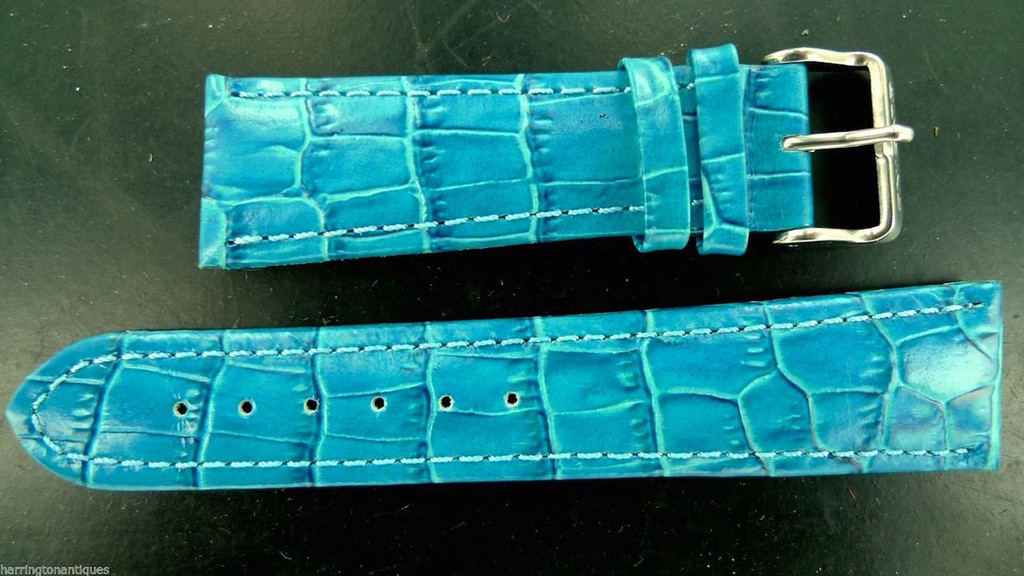 24MM BLUE GLOSS LEATHER STRAP & STEEL BUCKLE BY GLYCINE #J (FITS 24MM PANERAI)