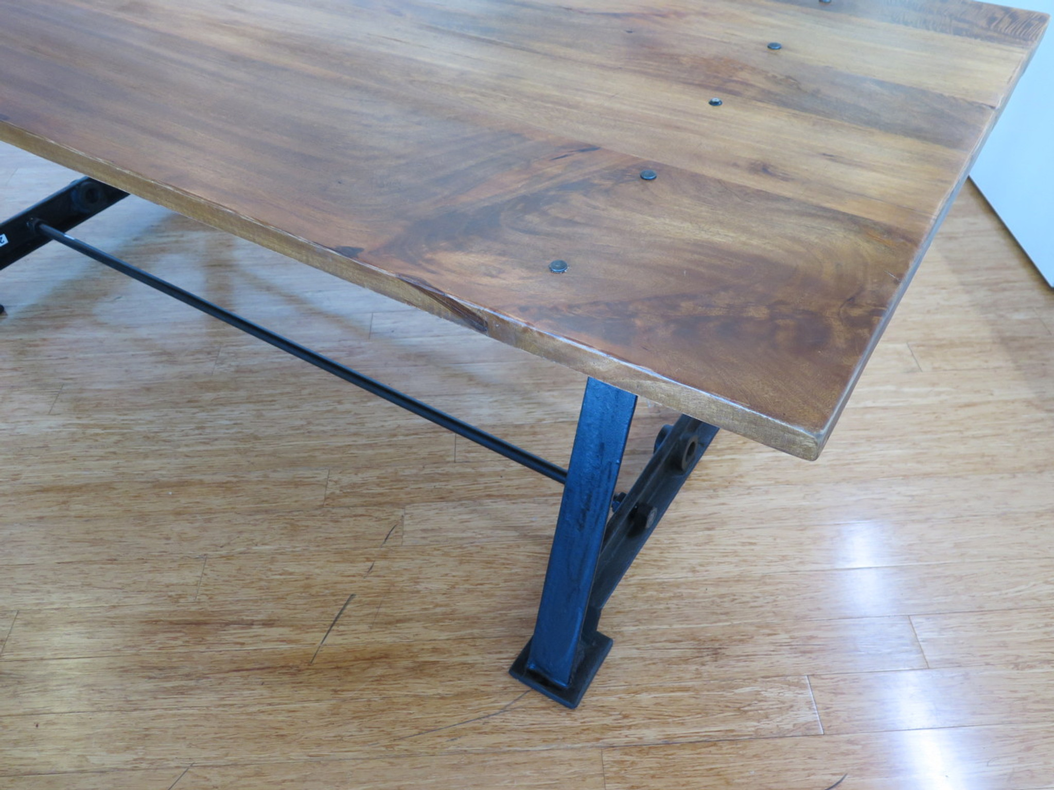 With massive wood top and iron cast base -  Industrial Cast Iron Base Solid Timber Top Table Desk 230cm X 96cm X
