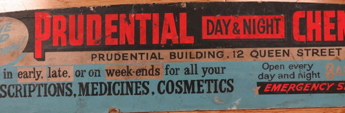 SUPER RARE c1950s BRISBANE TRAM ADVERTISING BOARD PRUDENTIAL DAY & NIGHT CHEMIST