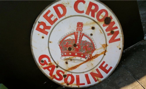 RARE VINTAGE RED CROWN USA GASOLINE VERY LARGE 106CMS ENAMEL ADVERTISING SIGN.