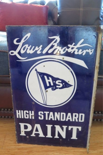 c1940's AMERICAN LOWE BROTHERS PAINT DOUBLE SIDED VERY HEAVY FLANGE SIGN.