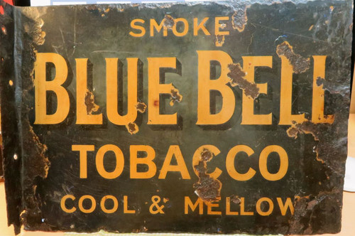 RARE EARLY 1900s BLUE BELL TOBACCO LARGISH ENAMEL DOUBLE SIDED SIGN.