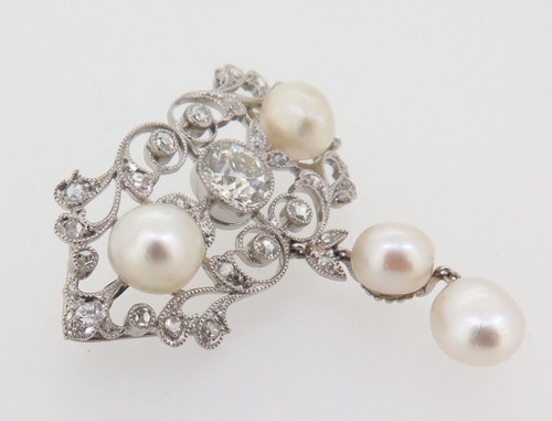 ANTIQUE PLATIUNUM 1.25CT G/H SI OLD CUT DIAMOND NATURAL PEARL BROOCH VAL $54000