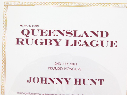 "VERY RARE QLD RUGBY LEAGUE REPRESENTATIVE AWARD & BADGE. J HUNT ""LEWIS OF 1924"""