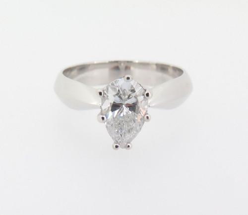 Impressive 18k White Gold 1.10ct Pear Cut Diamond F/G Solitare Ring Val $15255