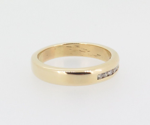Channel set 0.12ct Diamond H SI 14k yellow gold Wedding / Dress Ring Val $1700