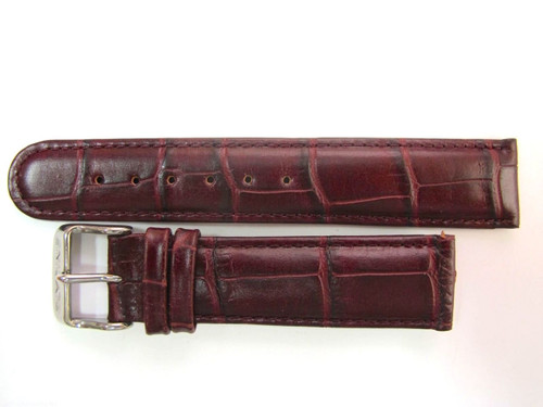 20mm German made burgundy leather strap & Steel buckle by Glycine