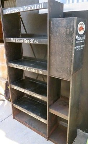 RARE c1930's GARGOYLE MOBIL OIL LARGE GARAGE / SHOP OIL DISPLAY STAND.