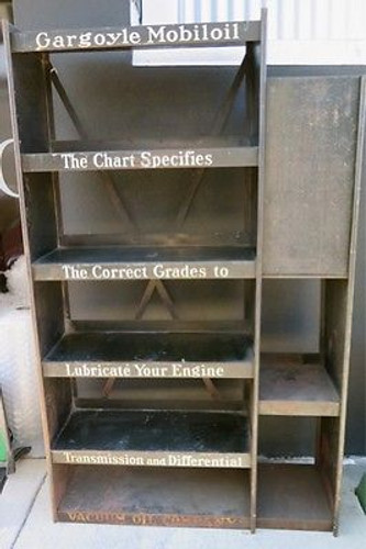 BRISBANE VINTAGE SIGN DEALER RARE c1930's GARGOYLE MOBIL OIL LARGE GARAGE / SHOP OIL DISPLAY STAND.