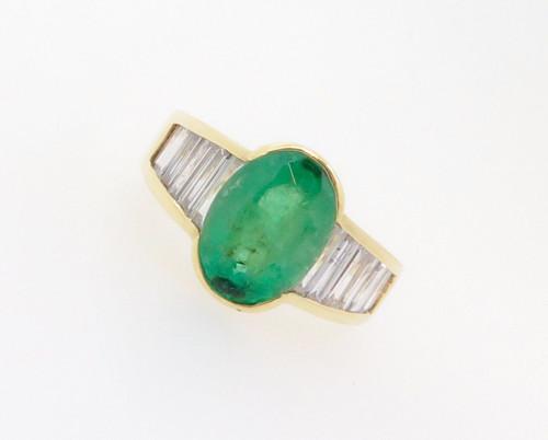 Mid Green 3.39ct Emerald & 2.04ct Diamond 18k Gold Dress Ring Val $14750
