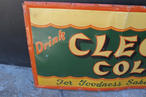 "SUPER RARE 1930's AMERICAN ""CLEO COLA"" VERY LARGE EMBOSSED TIN SIGN."