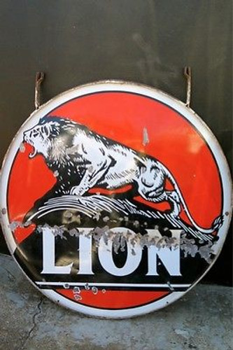AUSTRALIAN VINTAGE OLD SIGN BUY SELL c1930's -40's AMERICAN LION MOTOR OIL GAS STATION LARGE ENAMEL SIGN