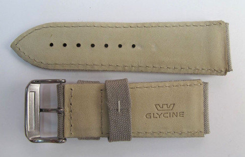24MM HIGH GRADE DESERT CAMO CANVAS & LEATHER STRAP AND BUCKLE BY GLYCINE