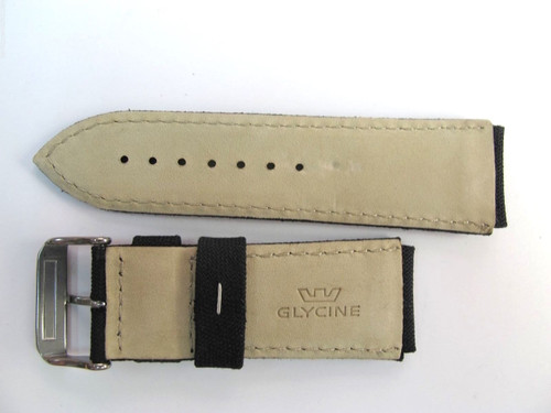 24MM GERMAN MADE HIGH GRADE BLACK CANVAS & LEATHER STRAP BY GLYCINE