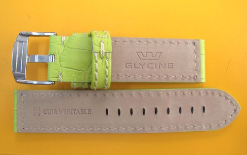 22MM LEATHER STITCHED HIGH GRADE STRAP & BUCKLE BY GLYCINE