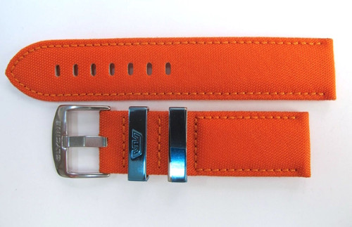 22MM SCARLET ORANGE FABRIC STRAP WITH LEATHER INNER & STEEL BUCKLE BY GLYCINE  BRISBANE Harrington Vintage Watch Strap Woolloongabba