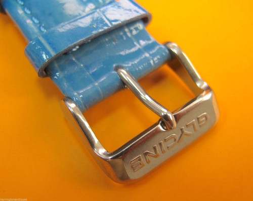 22MM HIGH GRADE BLUE GLOSS LEATHER STRAP & STEEL BUCKLE BY GLYCINE