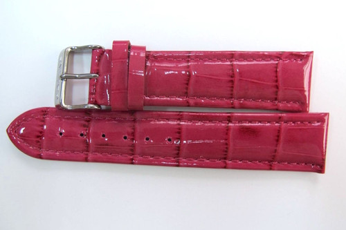 22MM GENUINE GLYCINE PINK GLOSS LEATHER STRAP & STEEL BUCKLE BY GLYCINE  BRISBANE Harrington Vintage Watch Strap Woolloongabba