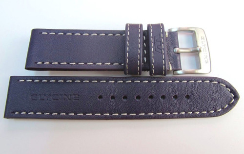 22MM GENUINE GLYCINE GERMAN MADE PURPLE LEATHER STRAP WHITE STITCHING & STEEL BUCKLE BY GLYCINE BRISBANE Harrington Vintage Watch Strap Woolloongabba