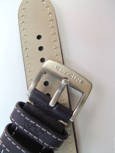 22MM XL GERMAN MADE PURPLE LEATHER WHITE STITCHED STRAP & BUCKLE BY GLYCINE #R