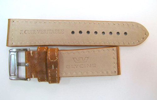 24MM XLONG GERMAN MADE BROWN LEATHER STRAP & STEEL BUCKLE BY GLYCINE