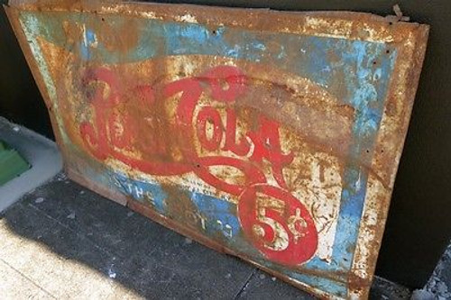 c1930's AMERICAN PEPSI COLA 5C LARGE METAL ADVERTISING SIGN