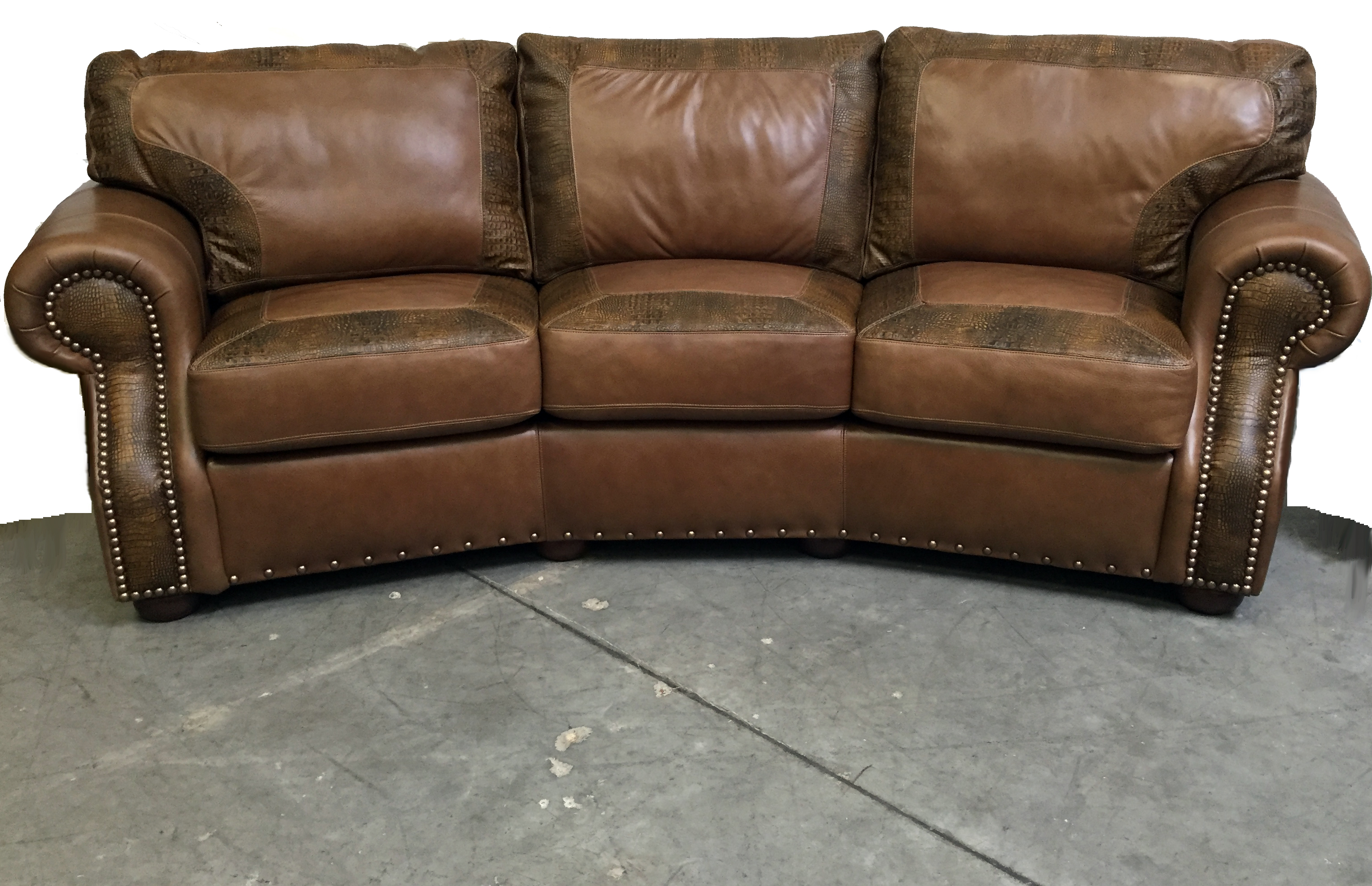 Recessed Arm Angle Sofa with window panes