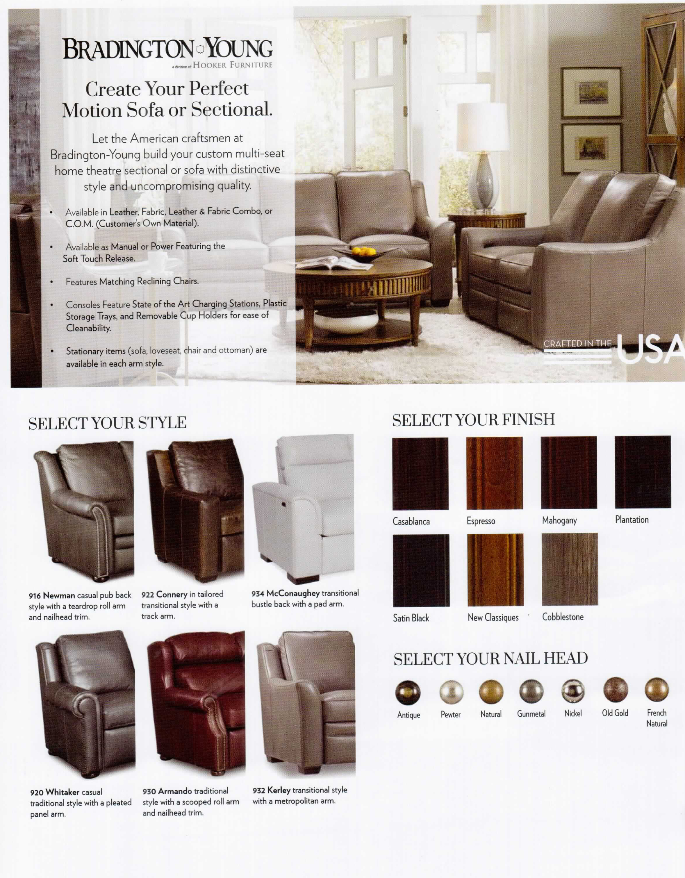Bradington-Young 900 series luxury reclining furniture