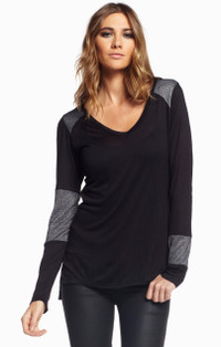 Black & Silver Long Sleeve Top