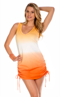 Shirred Side Dip Dye Dress - Creamsicle Orange