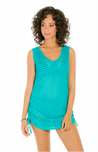 Jacquard Shirred Side Dress - Surf