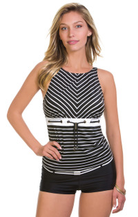 Eco Sailor Stripe Grommet Highneck Tankini