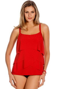 Red Waves Tankini Top