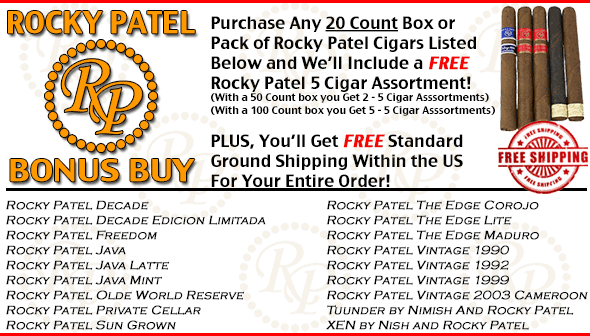 Rocky Patel Bonus - Free 5 Pack and Free Shipping
