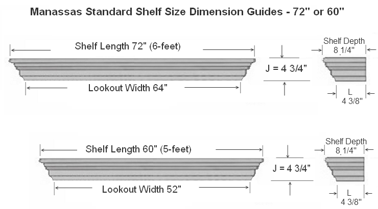 Manassas Standard Mantel Shelf Specifications