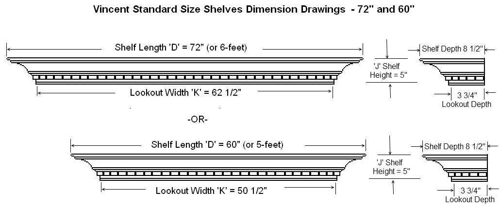 Dimension Guide for Vincent Standard Mantel Shelves