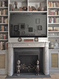 Our Louis XVI marble mantel in Cararra was perfectly matched with our black cleft slate surround